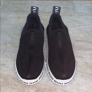 Miu Miu Black and White Slip on Sneakers